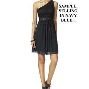 ADRIANNA PAPELL NAVY ONE SHOULDER PARTY DRESS